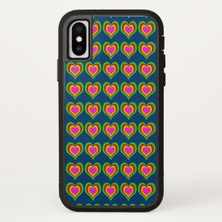 Capa Para iPhone X CORES retros da MUDANÇA dos corações (mais opções)