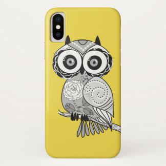 Capa Para iPhone X Coruja Groovy do hipster bonito cinzento amarelo