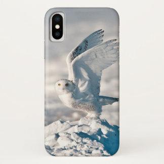 Capa Para iPhone X Coruja nevado que descola da neve