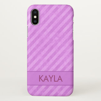 Capa Para iPhone X Costume cor-de-rosa da listra do Grunge