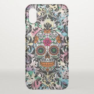 Capa Para iPhone X Crânio floral floral do açúcar com redemoinhos