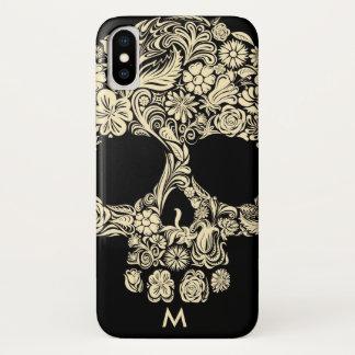 Capa Para iPhone X Crânio floral preto e branco do açúcar do