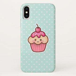 Capa Para iPhone X Cupcake cor-de-rosa de Kawaii e bolinhas bonitos