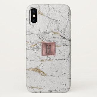 Capa Para iPhone X Da etiqueta cor-de-rosa do ouro do monograma