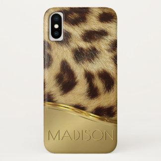 Capa Para iPhone X Da pele moderna do falso do leopardo das senhoras