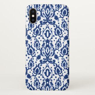 Capa Para iPhone X Damasco azul e branco de Casbah do marroquino