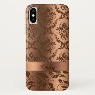 Capa Para iPhone X Damascos florais de cobre de Brown & olhar