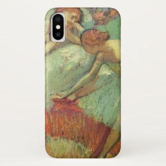 Capa Para iPhone X Dançarinos no verde, Edgar Degas, arte do balé do
