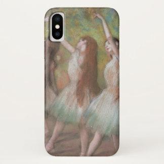 Capa Para iPhone X Dançarinos verdes por Edgar Degas, arte do balé do