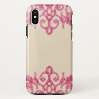 Capa Para iPhone X ~ de creme cor-de-rosa do laço