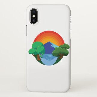 Capa Para iPhone X 👍 de Sun, de montanha, de lago e de árvores