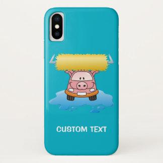 Capa Para iPhone X Desenhos animados do porco do Carwash