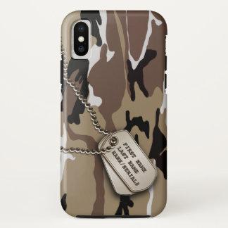 Capa Para iPhone X Deserto militar Camo com Tag de cão