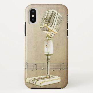 Capa Para iPhone X Design do microfone do vintage