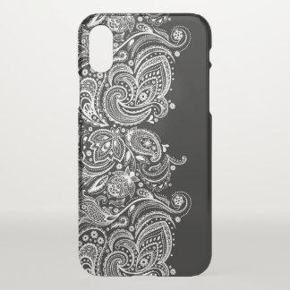 Capa Para iPhone X Design feminino preto & branco do laço de Paisley