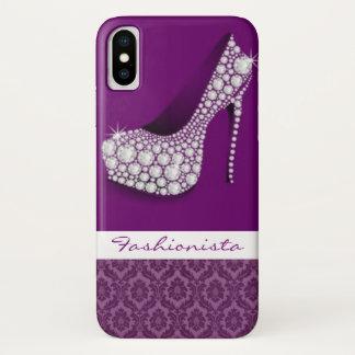Capa Para iPhone X Design roxo do damasco do salto alto branco dos