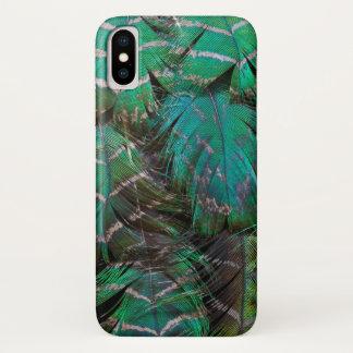 Capa Para iPhone X Design verde da pena do pavão