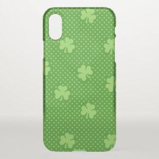 Capa Para iPhone X Dia verde de Patricks do santo do teste padrão do