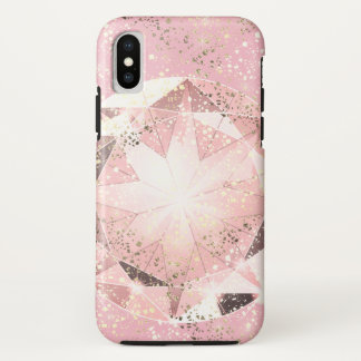 Capa Para iPhone X Diamante cor-de-rosa no Pastel claro com faísca do
