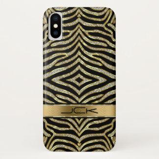 Capa Para iPhone X Diamantes & brilho do ouro com as listras pretas
