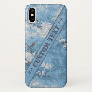 Capa Para iPhone X Digi azul Camo com texto feito sob encomenda