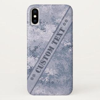 Capa Para iPhone X Digi cinzento Camo com texto feito sob encomenda