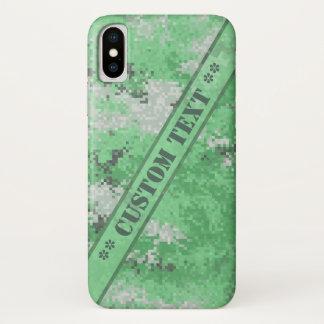 Capa Para iPhone X Digi verde Camo com texto feito sob encomenda