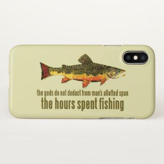 Capa Para iPhone X Dizer da pesca com mosca da truta de ribeiro