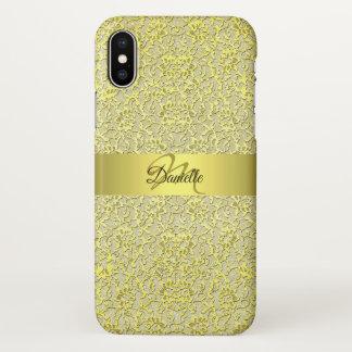 Capa Para iPhone X Do laço Glam moderno do ouro do vintage monograma