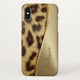 Capa Para iPhone X Do monograma elegante do leopardo do falso das