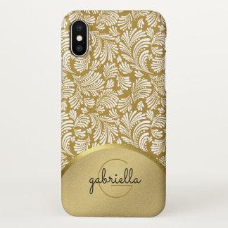 Capa Para iPhone X Do ouro moderno do falso do monograma das senhoras