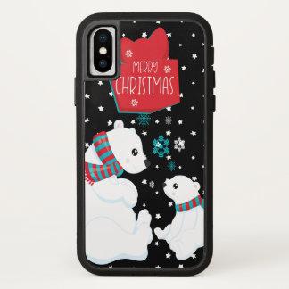 Capa Para iPhone X Dois Felizes Natais dos ursos polares