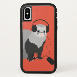 Capa Para iPhone X Doninha engraçada do melómano dos fones de ouvido