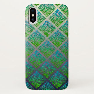 Capa Para iPhone X Dos diamantes modernos do mosaico de turquesa
