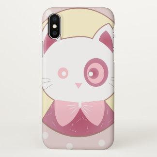 Capa Para iPhone X Dúvida cor-de-rosa do retrato do gato