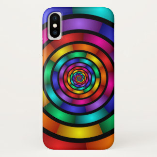 Capa Para iPhone X Em volta de e arte moderna colorida psicadélico do