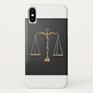 Capa Para iPhone X Escalas de justiça - vintage, preto e branco