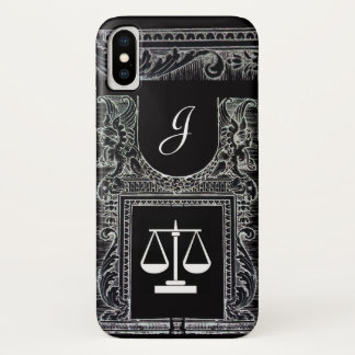 Capa Para iPhone X ESCRITÓRIO LEGAL de JUSTIÇA, preto do monograma do
