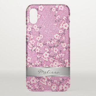 Capa Para iPhone X Espaço livre cor-de-rosa Bling do monograma das