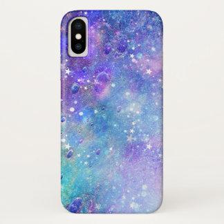 Capa Para iPhone X Estrelas coloridas do espaço profundo & do branco