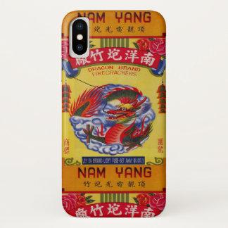 Capa Para iPhone X Etiqueta chinesa dos fogos-de-artifício do vintage