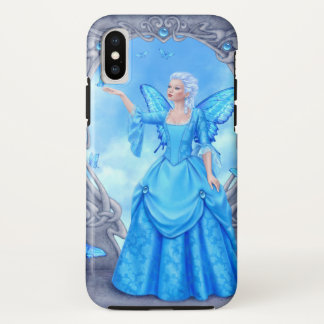 Capa Para iPhone X Fada azul da borboleta de Birthstone do topázio