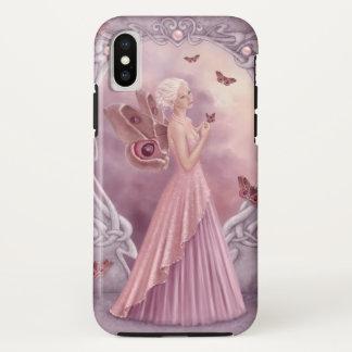 Capa Para iPhone X Fada da borboleta de Birthstone da pérola
