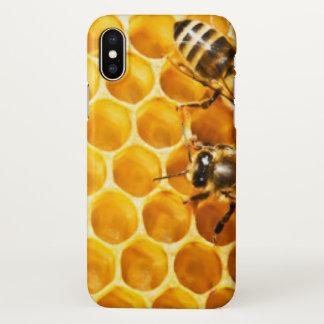 Capa Para iPhone X Favo de mel e design do teste padrão das abelhas
