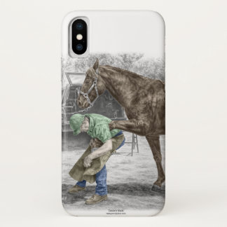 Capa Para iPhone X Ferreiro do Farrier que calça o cavalo