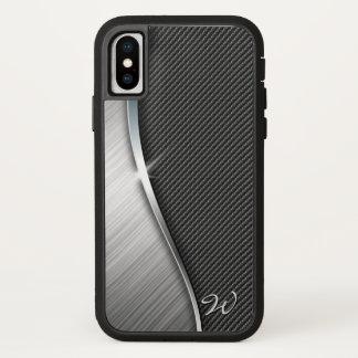 Capa Para iPhone X Fibra do carbono & metal escovado 4