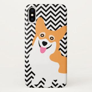 Capa Para iPhone X Filhote de cachorro bonito Chevron do Corgi de