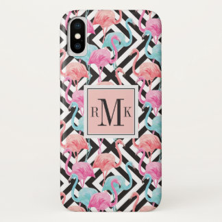 Capa Para iPhone X Flamingos no teste padrão corajoso do design