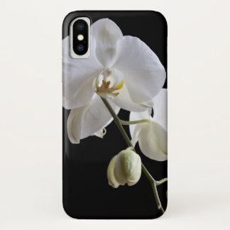 Capa Para iPhone X Flor branca da orquídea no preto