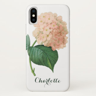 Capa Para iPhone X Flor cor-de-rosa do Hortensia do Hydrangea do